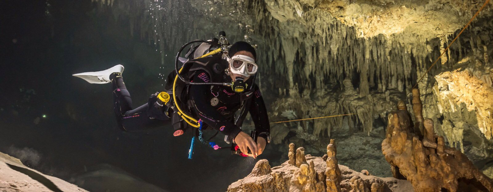 open water diver in a mexican cenote